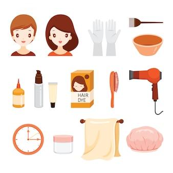 Set di attrezzature e accessori per tintura per capelli