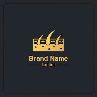 Modello di logo professionale dorato di follicoli piliferi