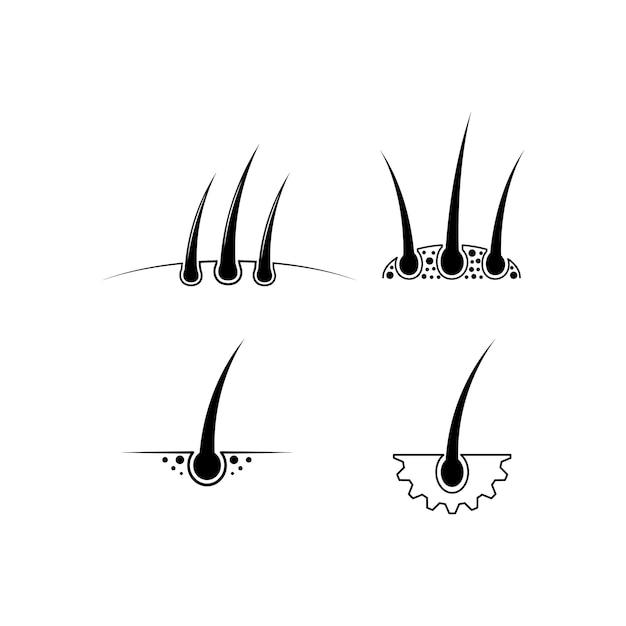 Modello di set di icone per capelli
