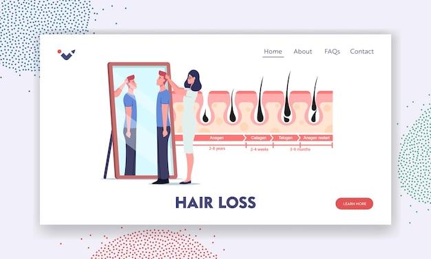 Modello di pagina di destinazione per la perdita di capelli. caratteri di medico e paziente allo specchio e infografica di medicina che rappresentano i cicli di crescita o perdita dei capelli. anagen, catagen, telogen. cartoon persone illustrazione vettoriale