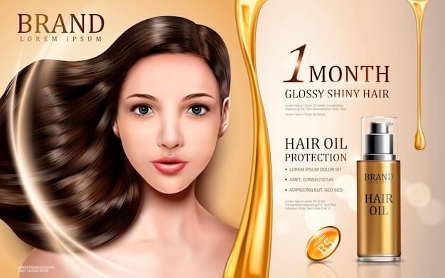Protezione olio per capelli contenuta in bottiglia con viso modello, sfondo dorato