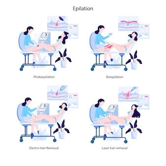 Metodi di rimozione dei capelli per le donne impostati. tipo di procedura di bellezza dell'epilazione. idea di cura e bellezza del corpo e della pelle. foto e bioepilazione, elettrolisi e epilazione laser.
