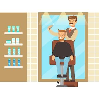 Interno parrucchiere o barbiere. personaggio dei cartoni animati colorato illustrazione