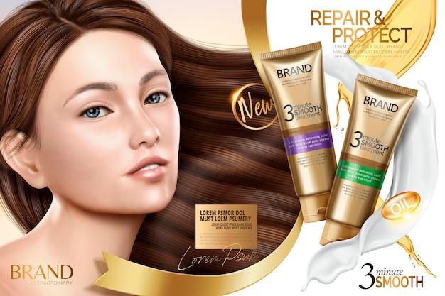 Annuncio di trattamento per capelli lisci