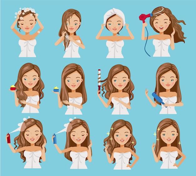 Cura dei capelli delle donne impostate.