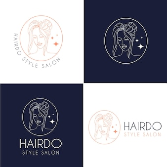 Logo del salone di bellezza in stile acconciatura