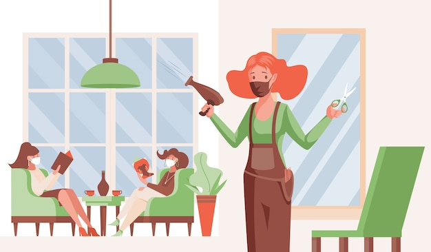 Parrucchiere e clienti in maschere mediche