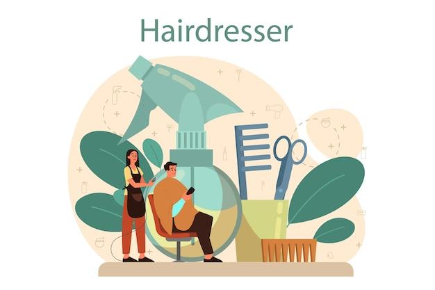 Concetto di parrucchiere idea di cura dei capelli in salone