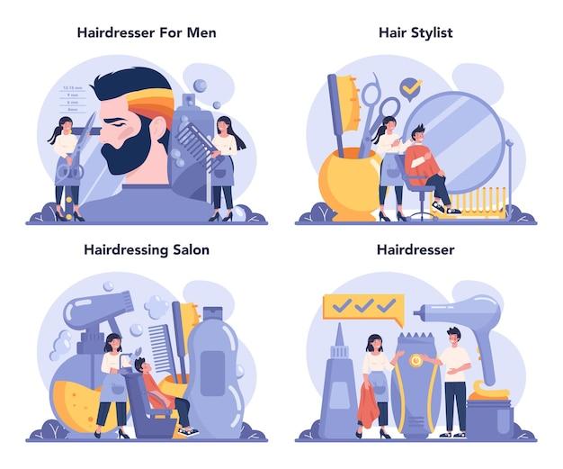 Insieme di concetto di parrucchiere
