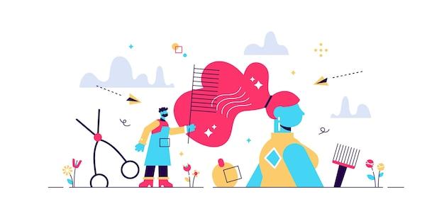 Illustrazione di parrucchiere. piatto minuscolo taglio di capelli concetto di persona di occupazione. il salone di moda lavora con i modelli. attrezzature di lavoro di servizio professionale per uno stile bellissimo. banner retrò o vintage astratto