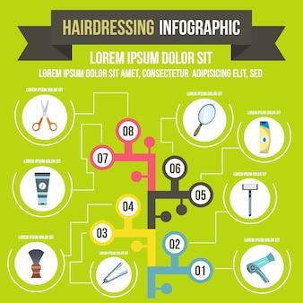 Infografica di parrucchiere in stile piano per qualsiasi design
