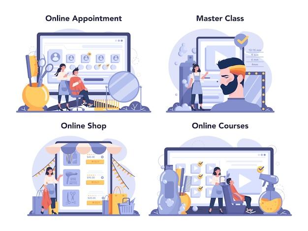 Servizio online di parrucchiere o set di piattaforme