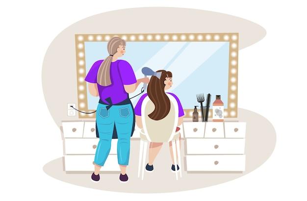 Parrucchiere utilizzando asciugacapelli rendendo stile di capelli al cliente nel salone di bellezza orizzontale a figura intera illustrazione vettoriale