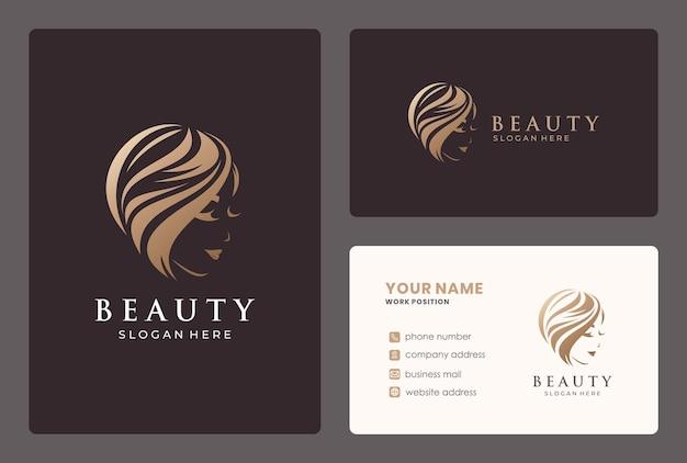 Parrucchiere, donna, design del logo salone di bellezza con modello di biglietto da visita.
