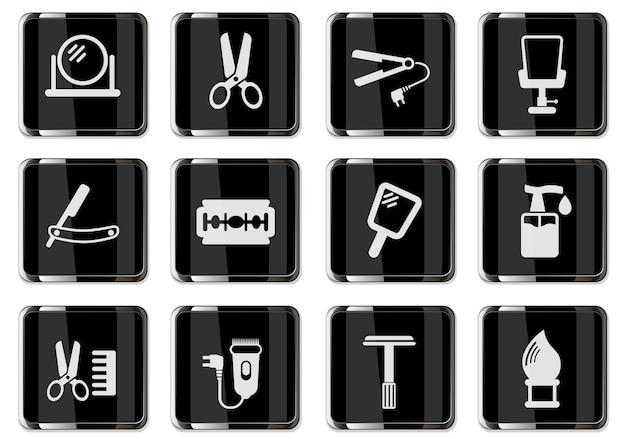Pittogrammi di parrucchiere in bottoni cromati neri. set di icone per il tuo design. icone vettoriali