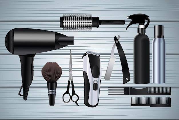 Icone dell'attrezzatura degli strumenti di parrucchiere nell'illustrazione di legno del fondo