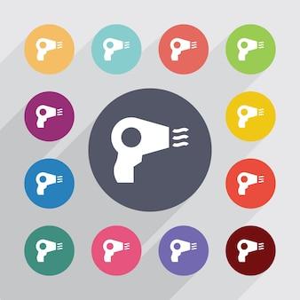 Asciugacapelli, set di icone piatte. bottoni colorati rotondi. vettore