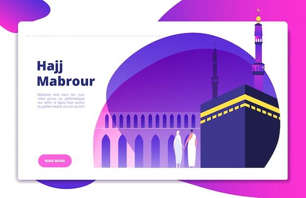 Concetto di hajj. umrah hajj prega i sauditi che pregano i musulmani mabrour che visitano il sito web moderno di makkah haram