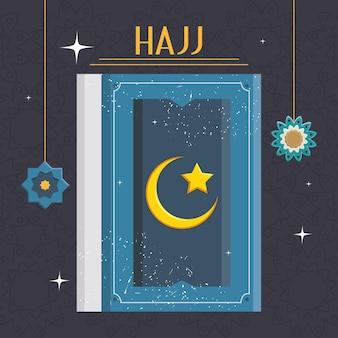 Illustrazione hajj con sacro quran