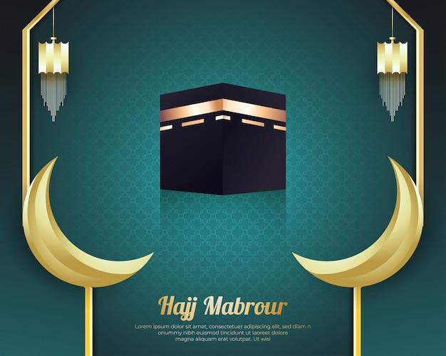 Sfondo hajj mabrour con kaaba e golden crescent moon