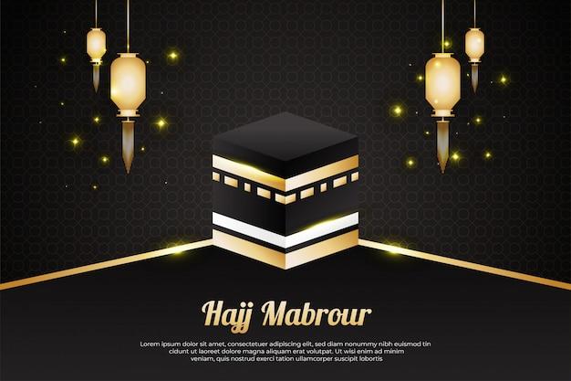 Sfondo hajj mabrour con kaaba e lanterne d'oro