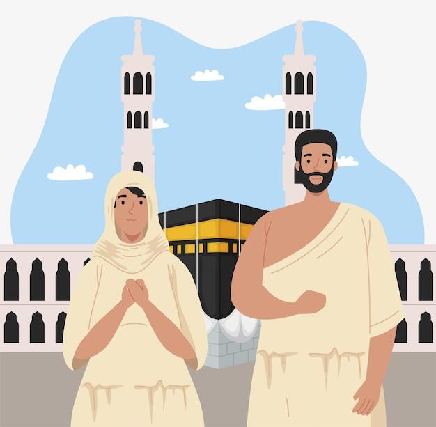 Hajj mabrur coppia con kaaba mecca