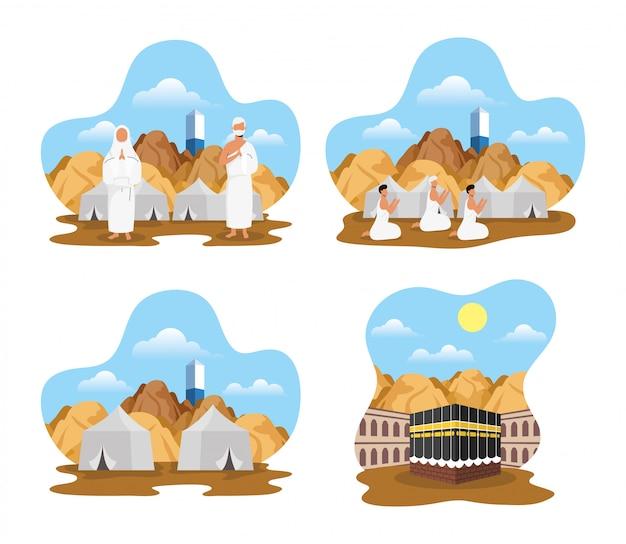 Hajj pellegrinaggio con scene di persone e icone