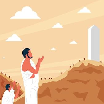 I pellegrini dell'hajj pregano sul monte arafat vettore premium