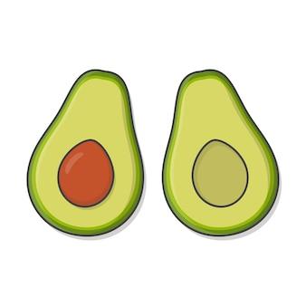 Metà del frutto dell'avocado isolato su bianco
