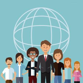 Mezzo gruppo di persone del mondo diversità