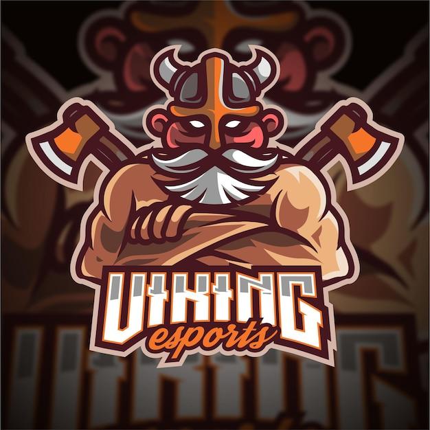 Logo di gioco di esport vichingo vecchio mezzo corpo