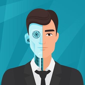 Mezzo cyborg, metà uomo uomo d'affari ritratto umano