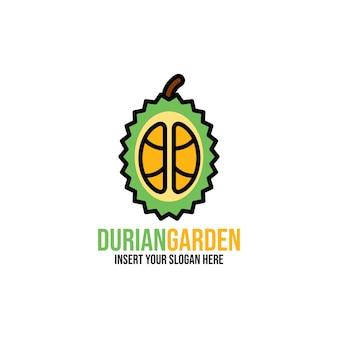Icona del durian mezzo fresco e modello di progettazione del logo illustrazione di frutti tropicali