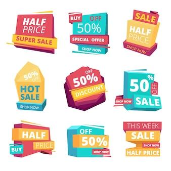 Distintivi a metà prezzo. pubblicità di tag di banner di vendita e raccolta di etichette promozionali.