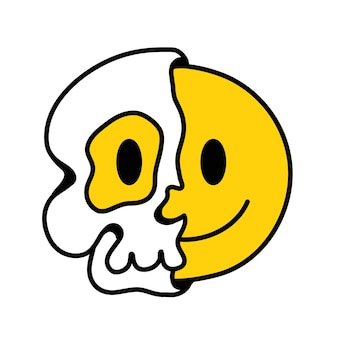 Metà del cranio con una faccia sorridente all'interno. linea disegnata a mano di vettore doodle illustrazione del personaggio dei cartoni animati in stile anni '70. trippy mezzo teschio, psichedelico, smile emoji face print per t-shirt, poster, concetto di carta