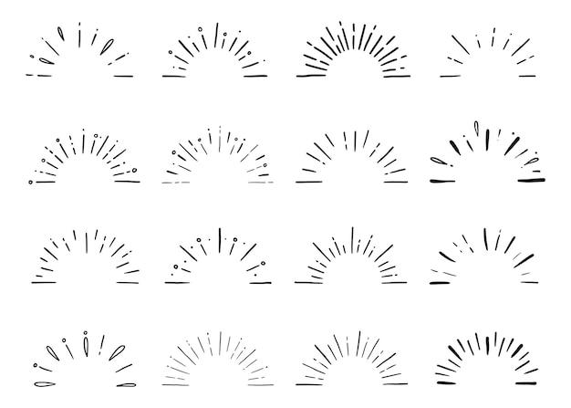 Set di raggi di sole scintillanti di sole mezzo starburst