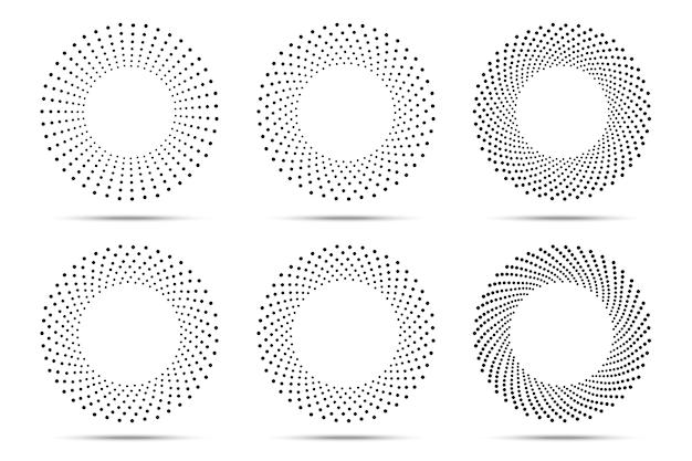 Set di cornici di punti cerchio mezzetinte.