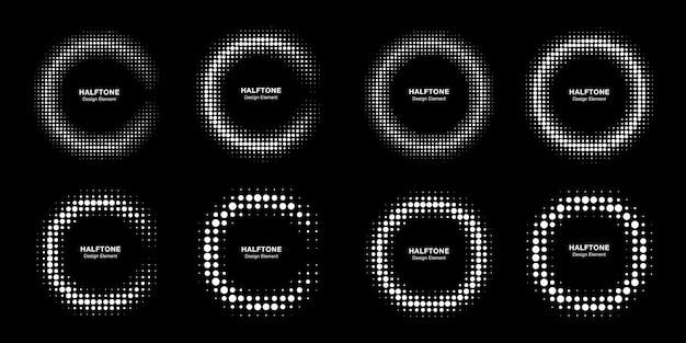 Emblema del logo di mezzitoni cerchio cornice punti.