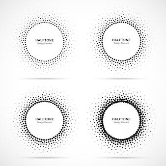 Cornice punteggiata circolare mezzitoni. puntini decorativi cerchio isolati su sfondo bianco. logo design elemen. bordo rotondo utilizzando la trama dei punti del cerchio dei mezzitoni.