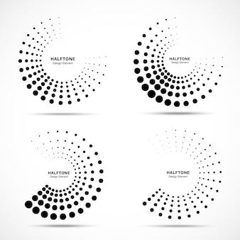 Insieme di elementi di design dell'emblema del logo dei punti astratti della cornice del cerchio punteggiato di semitono vector