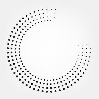 Priorità bassa del cerchio di punti punteggiati di semitono. reticolo di vettore di semitono effetto rotondo. punti del cerchio isolati. vettore