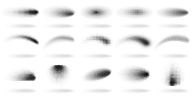 Forme punteggiate di mezzitoni. forme astratte di effetto dell'onda di pendenza dei punti, insieme dell'illustrazione di struttura dello spruzzo di pendenza di semitono punti elementi sfumati. figure macchiate di pop art isolate su bianco
