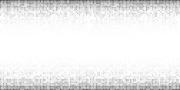 Modello gradiente orizzontale mezzitoni. sfondo utilizzando la trama di punti casuali dei mezzitoni. contesto di lerciume. elemento di design tecnologico. illustrazione vettoriale