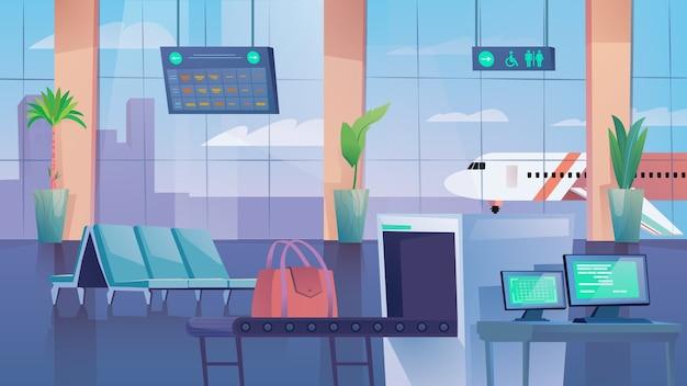 Sala dell'aeroporto piatto in stile cartone animato illustrazione di sfondo web