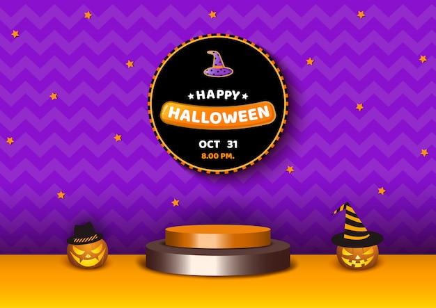 Piattaforma 3d di halloween con zucche viola