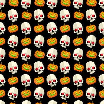 Halloween abstract seamless pattern design a mosaico con teschi e divertenti zucche facce su sfondo nero