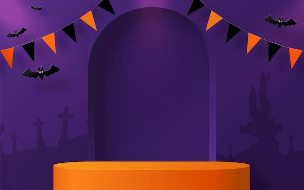 Disegno di sfondo di halloween con podio da palco quadrato rotondo 3d podium