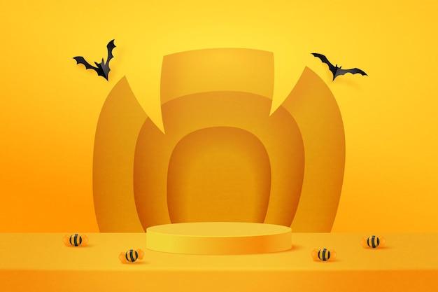 Disegno di sfondo di halloween con display prodotto podio giallo. fondo del modello di forma geometrica minima astratta di arte di carta 3d. illustrazione di vettore.