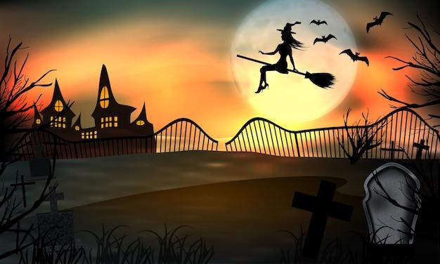 Bagliore di sfondo di halloween, giovane strega che vola su un manico di scopa.