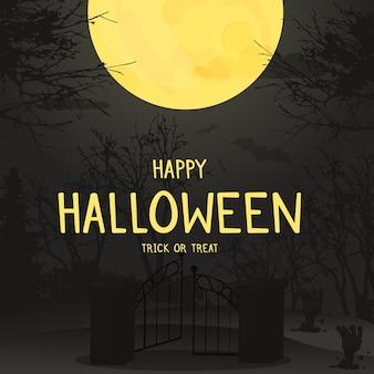 Foresta di notte del fondo di halloween con la luna. invito al cimitero spaventoso spettrale d'autunno.